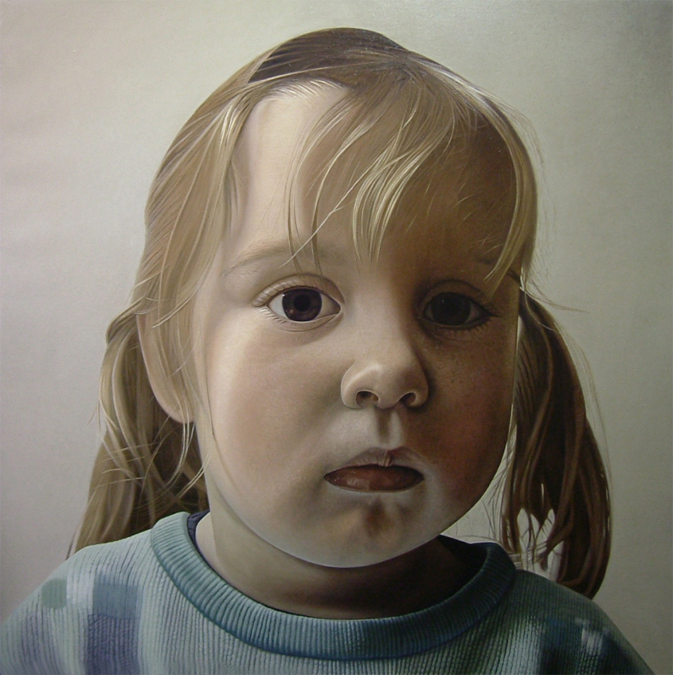 """Girl from Utrecht"" Oil on linen, 140x140 cm, 2005 Private collection, The Netherlands"