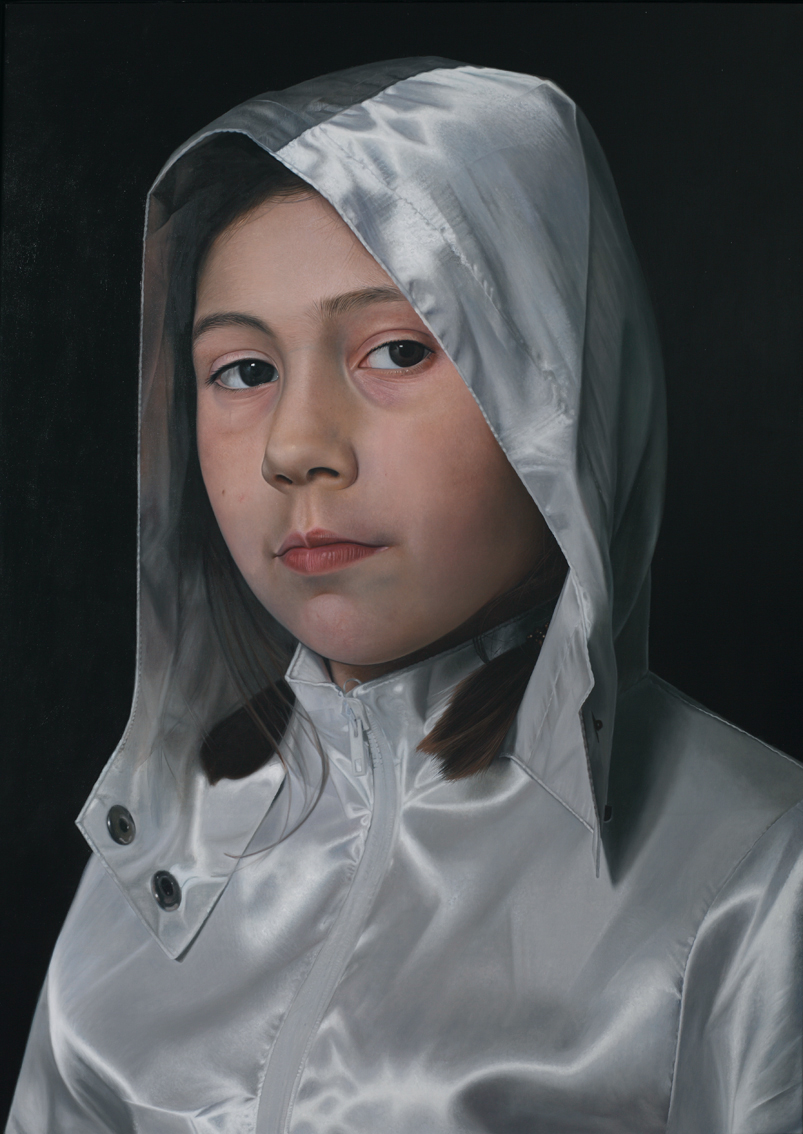"""Girl with silvery jacket"", oil on canvas 170x120 cm, 2012"